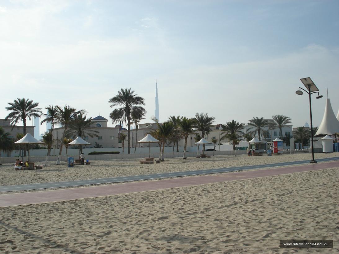 Open beach, Jumeira, Dubai.  Беговая и велосипедная дорожки