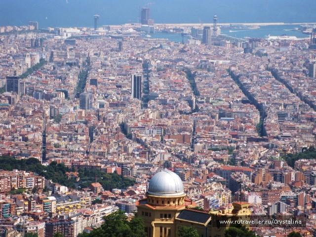 Вид на Барселону с горы Тибидабо